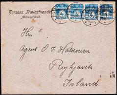 1908. 4x 4 ØRE HORSENS 2. 5. 08. To Reykjavik, Island. Transit KJØBENHAVN 0 OMB 3.5.08 ... (Michel: DK 45A) - JF181803 - Iceland