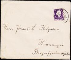 1911. Jon Sigurdsson. 15 Aur Violet PORSHÖFN 15. 11.21. To Hvamneyri.  (Michel: 67) - JF181827 - 1873-1918 Dipendenza Danese
