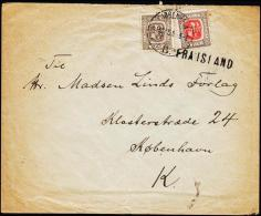 1907. Two Kings. 6 Aur Grey. Perf. 12 3/4, Wm. Crown + 4 Aur KJØBENHAVN 1.12.15. + FRA ... (Michel: 52) - JF181829 - 1873-1918 Dipendenza Danese