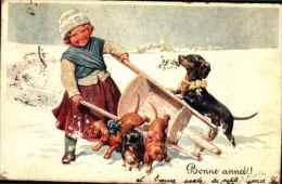 Bonne Année - 504, Feiertag Fille Brouette Chiens Teckel Dachshund - Nouvel An