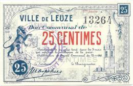 D12689 - Ville De LEUZE - Bon Communal De 25 Centimes Avec Cachet De L'administration *25.01.1918* - [ 3] Duitse Bezetting Van België