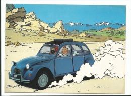 TINTIN Série Citröen Et La BD - 1ère Série Hergé - CPM - Création Hergé 1984 - Non Voyagée  2 Cv - Comics
