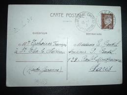 CP ENTIER PETAIN 80c OBL. VARIETE 15 I  (4)2 SAINT-ELIX-LE-CHATEAU HTE GARONNE (31 HAUTE-GARONNE) - Storia Postale