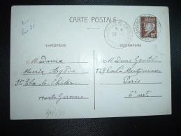 CP ENTIER PETAIN 80c OBL. 24 I  42 SAINT-ELIX-LE-CHATEAU HTE GARONNE (31 HAUTE-GARONNE) - Storia Postale