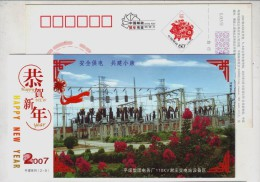 110 KV Xiezhuang Substation Plant Equipment,China 2007 Pingmei Coal Group Power Supply Station Pre-stamped Card - Electricité
