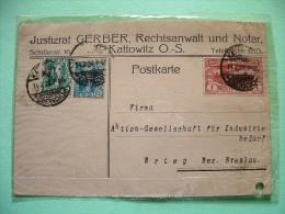 Upper Silesia (Poland) 1922 Postcard Kattowitz To Breslau - #20 (2x) + #28 - Silesia (Lower And Upper)