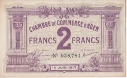 CHAMBRE DE COMMERCE D AGEN.2 FRANCS.1917.     2 TROUS. - Cámara De Comercio