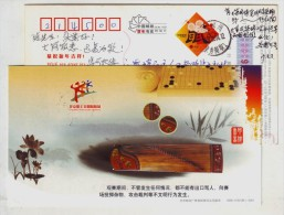Chinese National Musical Instrument Zither,weiqi Chess,CN08 Cheering For Olympic From Beijing Workers Pre-stamped Card - Music