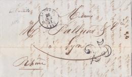 1197# LETTRE Datée ST JULIEN EN ST ALBAN Obl 6 LE POUZIN CURSIVE 20mm ARDECHE LORIOL 1851 T15 DROME - Marcophilie (Lettres)