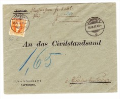 Heimat BE Aarwangen 16.3.1892 Mit 20Rp. Stehende Orange Auf Amtsbrief - 1882-1906 Armoiries, Helvetia Debout & UPU