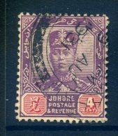 Malaysian States - Johore 1922-41 Sultan Ibrahim - 4c Purple & Carmine - Wmk. Script CA - Used (SG 108) - Johore
