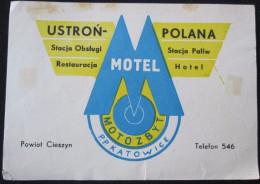 HOTEL ORBIS PENSION MOTEL INN SPA KATOWICE POLANA POLSKA POLAND TAG LUGGAGE LABEL ETIQUETTE AUFKLEBER DECAL STICKER - Hotel Labels
