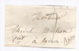 France Lettre LAC à Déchiffrer Pour Mr Thivel Michon - CAD Tarare 27-11?-1842 - 1801-1848: Précurseurs XIX