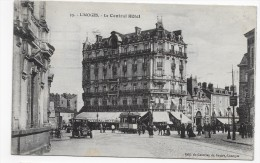 (RECTO / VERSO) LIMOGES - N° 33 - LE CENTRAL HOTEL AVEC TRAMWAY ET VIEILLE VOITURE - BELLE FLAMME - CPA - Limoges