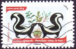 Oblitération Moderne Sur Adhésif De France N° 1036 - L'odorat - Putois Apeurés : Bouchez-vous Le Nez - France