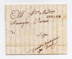 !!! MARQUE POSTALE D'UTELLE (ALPES MARITIMES) DE 1841 - Marcophilie (Lettres)