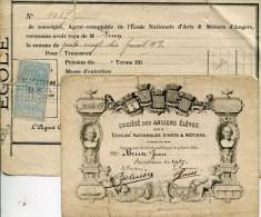 PEU COMMUN 1917 CARTE DE SOCIETAIRE + PAPIERS ANGERS ECOLES ARTS & METIERS CHALONS / MARNE CLUNY LILLE AIX EN PROVENCE - Non Classés