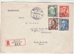 Lettre Recommandée 011 Bâle 30.12.1942 Aff Série Pro Juventute -> Kleve  Zensur/Censored/Censure E Francfort/M. - Suiza