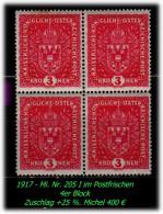 �sterreich - 1916 - Mi. Nr. 205 I - im Postfrischen 4er Block. -R-