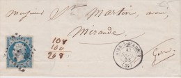 FRANCE  1853 LETTRE DE AIRE SUR L'ADOUR - 1853-1860 Napoléon III