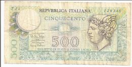 Billets: REPUBLICA ITALIANA - 500 Lires -14.2.1974 - [ 2] 1946-… : Républic