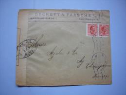 Sur Lettre Censure Contrôle Postal Militaire 1917 2 TP Beckett & Paasche - Danemark