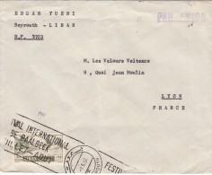 1957 LETTRE LIBAN. COVER. BEYROUTH - LYON. FESTIVAL INTERNATIONAL DE BAALBECK   / 7255 - Liban