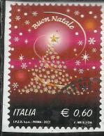 ITALIA REPUBBLICA ITALY REPUBLIC 2012 NATALE ALBERO DI STELLINE CHRISTMAS NOEL NAVIDAD NATAL USATO USED OBLITERE´ - 2011-...: Usati