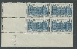 France N° 760 XX Monuments : Palais Du Luxembourg En Bloc De 4 Coin Daté Du 26 . 7 . 46  Sans Charnière,TB - 1940-1949