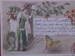 Cpa Art Nouveau FEMME Papillon ALPHABET Lettre J , 1907 , WOMAN & LARGE LETTER Butterflies Recto-verso   Prix Fixe - Femmes