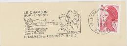 FRANCE. FRAGMENT POSTMARK CHAMBON SUR LIGNON. 1983. FLAMME - Marcofilia (sobres)