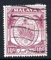 Malaysian States - Negri Sembilan - 1949-55 Arms - 10c Purple Used (SG 50) - Negri Sembilan