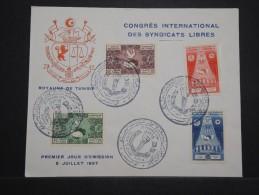 TUNISIE - Enveloppe FDC Du Congrés International Des Syndicats Libres En 1957 - A Voir - Lot P14456 - Tunisie (1956-...)