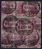 Deutsches Reich:  Mi Nr 92 II C 18-5-1920 Hermsdorf  9-block Very High CV   Used