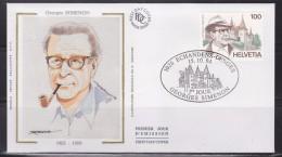 = Suisse Hommage Georges Simenon Enveloppe 1e Jour 1026 Echandens Denges 15.10.94 N°1463 Emission Belgique France Suisse - 1990-1999