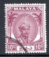 Malaysian States - Pahang - 1950-56 Sultan Sir Abu Bakar - 10c Magenta Used (SG 61) - Pahang