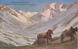 POSTAL DE CHILE DESDE EL PORTILLO  VALLE DE LA IGLESIA (DE BUENOS AIRES A VALPARAISO VIA CORDILLERA) - Chile