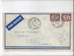 Enveloppe  ( Par Avion )  Cachet  Au  Depart  De  VIENTIANE   (   LAOS  )  à  Destination  D' Hanoi    (  TONKIN  ) - Laos