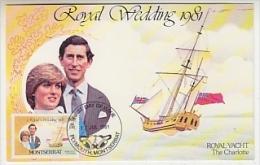 "Montserrat 1981 Royal Wedding Charles - Diana Royal Yacht ""The Charlotte"" 1v Maxicard (´26647A) - Montserrat"