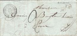 1850 LETTRE. ARDECHE MONTPEZAT-SOUS-BAUZON. ORIGINE RURALE AULUEYRE. TAXE TAMPON 2 POUR LIVRON  / 7279 - Marcophilie (Lettres)