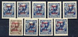 SOVIET UNION 1924 Postage Due Overprint Set Of 9 MNH / **.  Michel Porto 1-9