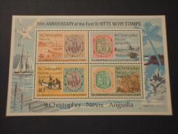 ST.CHRISTOPHER NEVIS ANGUILLA - BF 1973 ANNIVERSARIO - NUOVO(++) - St.Christopher-Nevis-Anguilla (...-1980)