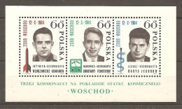 Pologne  Poland Polen Polska  BF**  N° YT 45 Cosmonautes Caducée Fusée Voskhod I - Blocks & Sheetlets & Panes