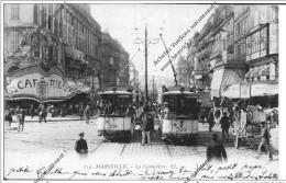 CPA MARSEILLE La Cannebière Tram Café Voyagée 1912 - Canebière, Stadscentrum