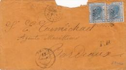 1874 LETTRE ITALIE  ENTREE AMBULANT MARSEILLE E     / 7295 - Marcofilia (sobres)