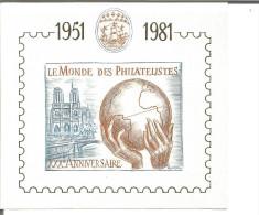 Bloc Feuillet 30 ème Anniversare Le Monde Des Philatéliste 1951-1981 Avec N° 062906