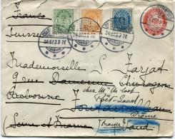 DANEMARK ENTIER DEPART CHARLOTTENLUND 24-8-03 POUR LA SUISSE REEXPEDIEE EN FRANCE - 1864-04 (Christian IX)