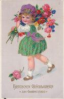 Mädchen Mit Blumenstrauß, Goldfarbener Aufdruck, Geburtstagsgruß, Um 1930 - Abbildungen