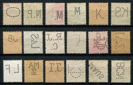 115 - 18 Diverse SCHWEIZ Perfins Inklusive Wertziffer - 1882-1906 Armoiries, Helvetia Debout & UPU