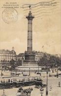 Paris - Place De La Bastille Et Colonne De Juillet - Tramway Et Attelages - Edition J. Cormault - Carte LIP - Markten, Pleinen